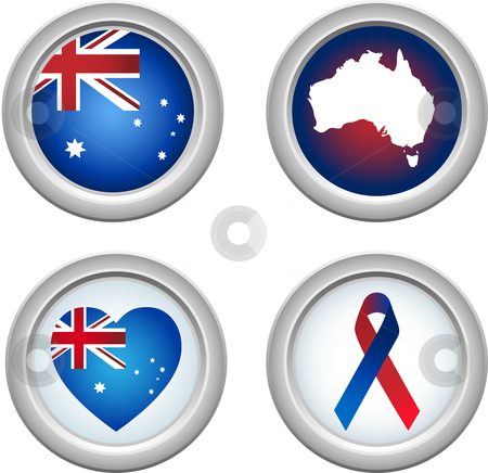 Australia Buttons stock vector clipart, Australia Buttons with ribbon, heart, map and flag by Augusto Cabral Graphiste Rennes
