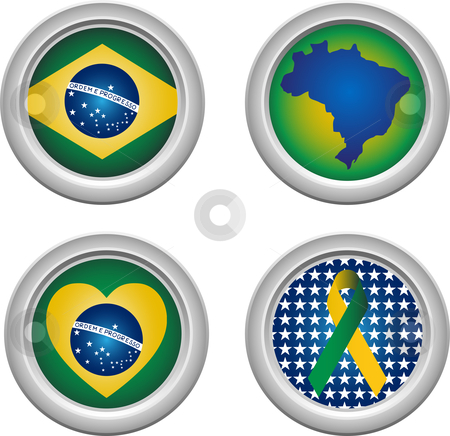 Brazil Buttons stock vector clipart, Brazil Buttons with ribbon, heart, map and flag by Augusto Cabral Graphiste Rennes