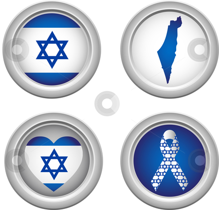 Israel Buttons stock vector clipart, Israel Buttons with ribbon, heart, map and flag by Augusto Cabral Graphiste Rennes