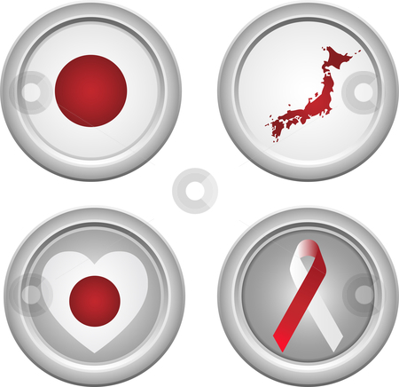 Japan Buttons stock vector clipart, Japan Buttons with ribbon, heart, map and flag by Augusto Cabral Graphiste Rennes