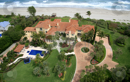 Oceanfront Home Flyover stock photo,  by Kristopher Strach