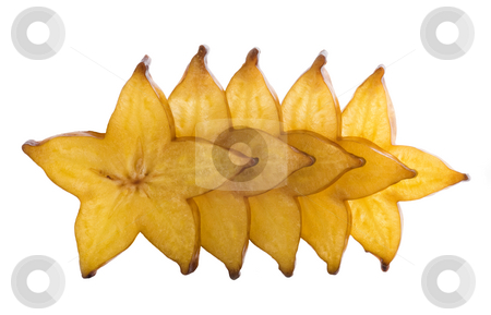 Five stars of carambola stock photo, Five stars of carambola, sliced on white background. by Valery Kraynov