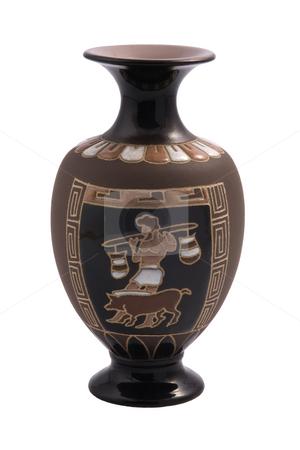 Greek vase stock photo, Greek vase isolated on white wiht national ornaments. by Valery Kraynov
