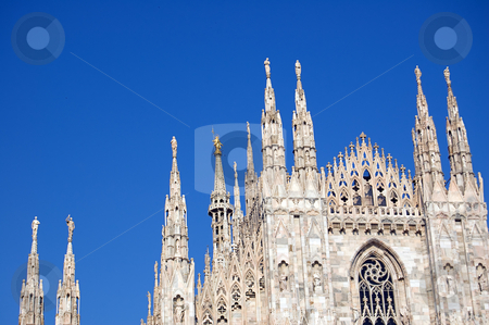 Cathedral in Milan, Duomo stock photo, The famous Duomo, cathedral church of Milan, Italy. Details of spires with the
