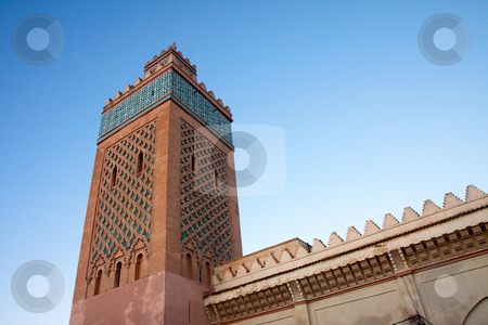 Minaret of the kasbah in Marrakesh, Morocco stock photo, Minaret of the Kasbah district in Marrakesh, Morocco. The Kasbah was the first Citadel of the Sultans of Morocco. The Kasbah is home to the Royal Place, also the former El - Badi Palace and the Saadian Tombs. by Wouter Roesems