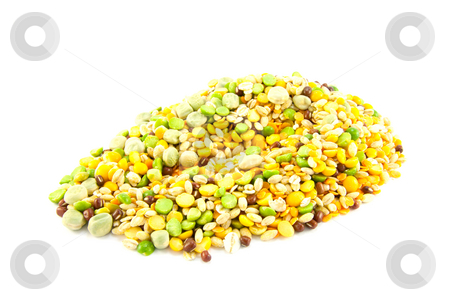 Soup Pulses stock photo, Assorted soup pulses in a heap on a white background by Keith Wilson