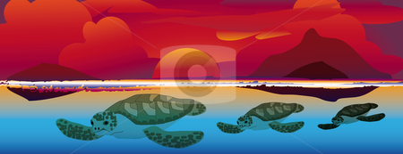 Sunset swimming sea turtles stock vector clipart, Three sea turtles swimming at a colorful sunset by Karin Claus