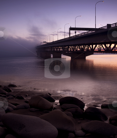 Bridge to nowhere stock photo, Auckland Harbour bridge taken very early on a rare windless day by Robin Ducker