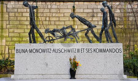 Auschwitz memorial stock photo, Auschwitz memorial in Pere Lachaise cemetery by Jaime Pharr