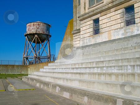 Alcatraz water tank stock photo, Water tank and steps on Alcatraz by Jaime Pharr