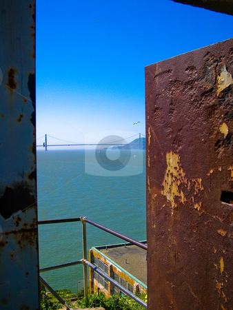 Golden gate bridge stock photo, View of Golden Gate Bridge from Alcatraz by Jaime Pharr