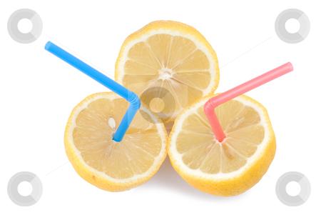 Concept of lemon juice stock photo, Color Straw on lemon, concept of kiwi juice by Lawren