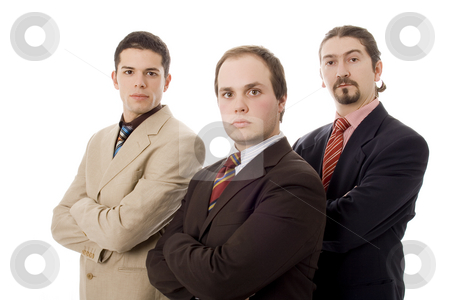 Three men stock photo, Three business men white isolate by Marc Torrell