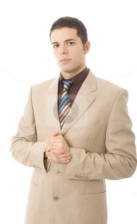 Man in khaki suit stock photo, Business young man serious white isoalte by Marc Torrell
