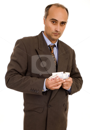 Man stock photo, Man counting his oney white isolate by Marc Torrell