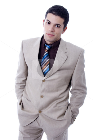 Man stock photo, Business young man happy rich white isoalte by Marc Torrell