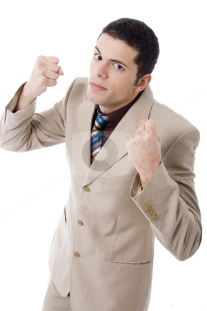 Man stock photo, Violent business young man  white isoalte by Marc Torrell