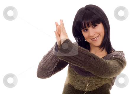 Woman stock photo, Beautiful young woman clapping hands white isolate by Marc Torrell