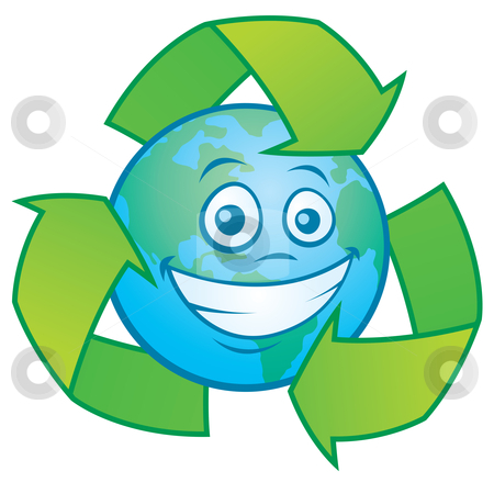 Earth Cartoon with Recycle Symbol stock vector clipart, Vector cartoon illustration of an Earth character surrounded by a recycle symbol. Great mascot for going green design. by John Schwegel