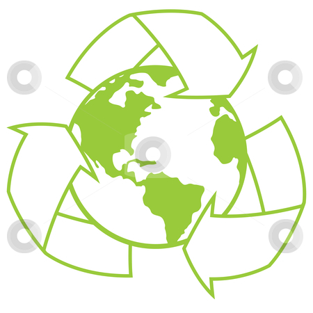 Planet Earth with Recycle Symbol stock vector clipart, Vector illustration of planet Earth surrounded by a recycle symbol. Great icon for going green design. by John Schwegel