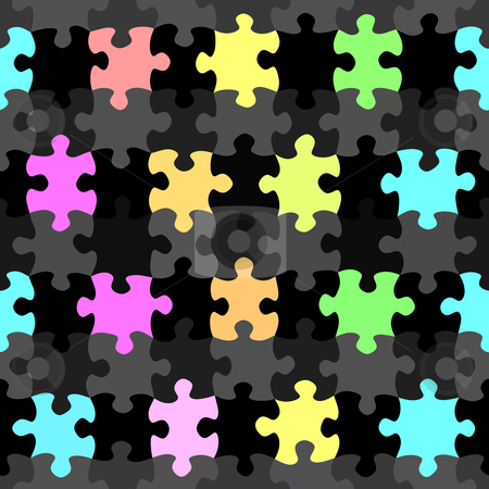 Vibrant jigsaw pieces pattern stock photo, Seamless texture of colorful and black jigsaw puzzle pieces by Wino Evertz