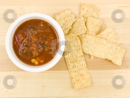 Chips and Salsa stock photo, Chips and salsa with and overhead aerial view by John Teeter