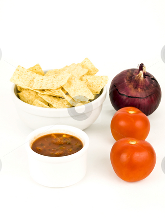Chips and Salsa stock photo, Chips and salso on a nice white background by John Teeter