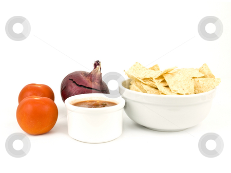 Chips and Salsa on a nice white background stock photo, Chips and Salsa on a nice white background by John Teeter