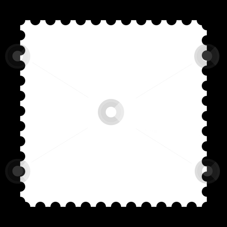 Stamp stock photo, Square stamp with copy space on black background by Henrik Lehnerer