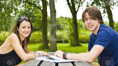 Planning a trip stock photo, Young couple planning a trip at a picknick table, smiling at the camera by Corepics VOF