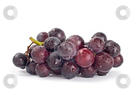 Grapes with drops stock photo, Isolated grapes on white background by Lawren