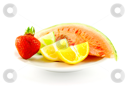Citrus Fruit with Strawberry and Melon stock photo, Lemon, lime and orange wedges with a red ripe strawberry and slice of juicy watermelon on a plate with a white background by Keith Wilson