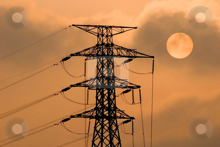 The electricity tower and sun stock photo, Concept of solar and power, Electricity tower,  Electricity transportation by Lawren