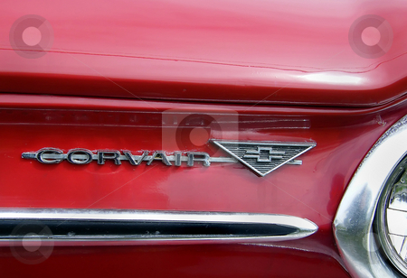 Chevrolet Corvair Script and Badge stock photo, Chevrolet Corvair Script and Badge on front end of 1964 Chevrolet Corvair Monza 900 Convertible. by Dazz Lee Photography