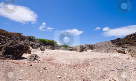 Rocky beach stock photo, Rocky bay view with coral and stone beach by Karin Claus