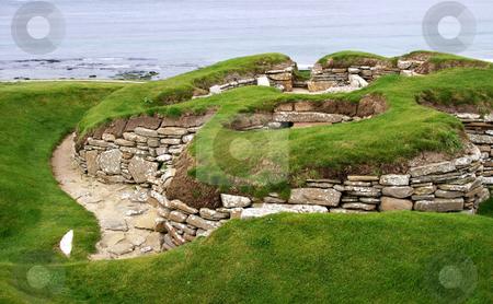 Old settlement skara brae stock photo, Old historic settlement skara brae on orkney island by Karin Claus