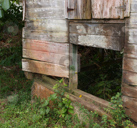 Weathered and rustic wooden building stock photo, A weathered and rustic abandoned wooden building by Jill Reid