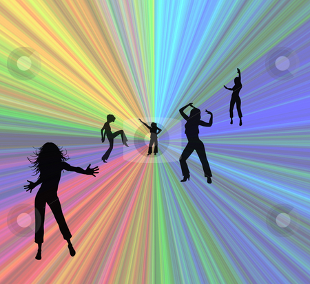 Dancing Girls Illustration stock photo, Silhouettes of Girls dancing by Laura Smith