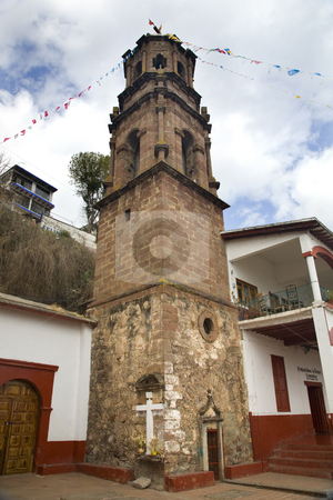 Church Steeple Janitizo Island Patzcuaro Lake Mexico stock photo, Catholic Church Tower Steeple, Janitizo Island, Patzcuaro Lake, Mexico by William Perry