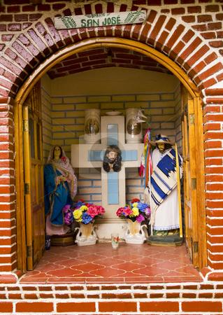 Street Christian Shrine Janitzio Island Mexico stock photo, Christian Street Shrine Janitzio Island Patzcuaro Lake Mexico by William Perry