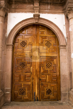 Church Door Janitzio Island Mexico stock photo, Brown Church Door Janitzio Island Patzcuaro Lake Mexico by William Perry