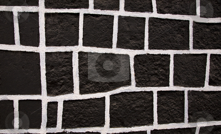 Black White Square Wall Mexico stock photo, Black and White Square Wall Janitzio Island Patzcuaro Lake Mexico by William Perry