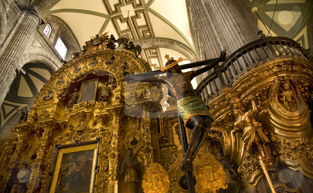 Inside of Metropolitan Cathedral, Zocalo, Cneter, Mexico City stock photo, Christ Hanging from Cross, Inside, Metropolitan Cathedral, Zocalo, Center, Mexico City by William Perry