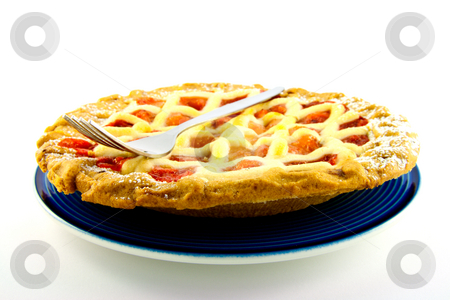 Apple and Strawberry Pie with a Fork stock photo, Whole apple and strawberry pie on a blue plate with a small fork on a white background by Keith Wilson