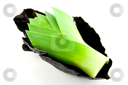 Leek and Red cabbage stock photo, Red cabbage leaf with a leek head placed inside on a white background by Keith Wilson