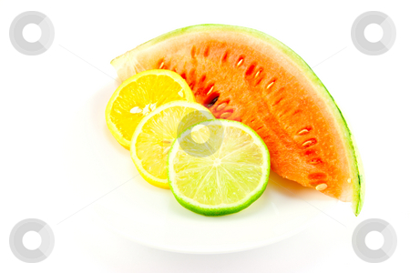 Citrus Fruit and Watermelon stock photo, Slices of lemon, lime and orange with a slice of juicy watermelon on a white background by Keith Wilson