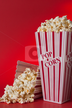 Pop Corn stock photo, Pop corn bags against red background by Jose Wilson Araujo