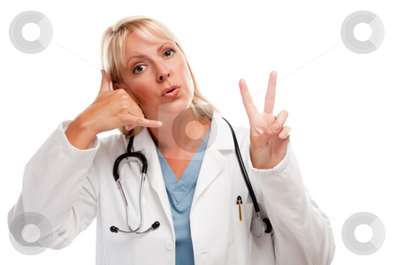 Friendly Female Blonde Doctor stock photo, Friendly Female Blonde Doctor or Nurse Saying Take Two and Call Me Isolated on a White Background. by Andy Dean