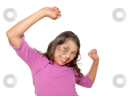 Happy Hispanic Girl Dancing Isolated stock photo, Happy Hispanic Girl Dancing Isolated on a White Background. by Andy Dean