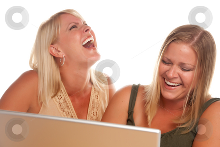 Two Laughing Woman Using Laptop stock photo,  by Andy Dean